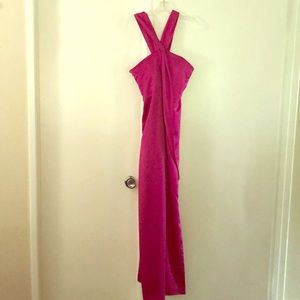 Hot pink Halston Heritage satin gown.
